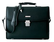 Brooks Brothers Luxury Briefcase Attache Padded Laptop Bag Black NWT