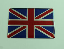40mm UNION JACK Sticker/Decal - RED, CHROME & BLUE HIGH - GLOSS DOMED GEL FINISH
