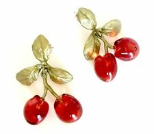 Morello Cherry Double Drop Post Earring by Michael Michaud for Silver Seasons