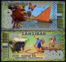 Equatorial Territories, Zanzibar 500 E Francs POLYMER 2015, UNC   Monkey