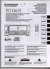 PIONEER - PD-F805  -  INSTRUCCIONES DE OPERACION   ( ORIGINAL BOOK )