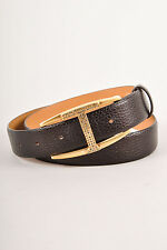 Tod's Brown Pebbled Leather Rhinestone 'T' Belt SZ 85