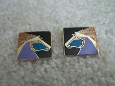 Gold Laurel Burch Stallion Horse Pierced Earrings Black Background