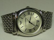 Emporio Armani Ar0283 Men Women Round Watch Silver Steel Bracelet White Dial