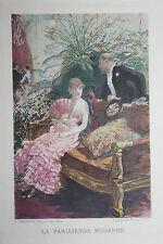 1884 Estampe originale H. Gervex Femme Homme Bourgeoisie Paris pour Uzanne Japon