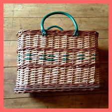 Vintage 50 ' s 60 ' s charmant en osier panier Shopper sac Rockabilly Mod Retro
