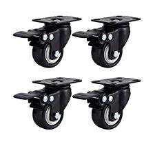 """4 Pack Swivel Plate Caster 2"""" Polyurethane Wheel Total Lock Brake ALL BLACK"""