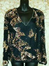 Women's Oleg Cassini Sequin Beaded Evening Cocktail Party Silk Blouse Top Sz S