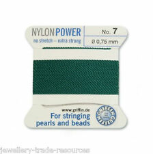 GREEN NYLON POWER SILKY STRING THREAD 0.75mm STRINGING PEARLS & BEADS GRIFFIN 7