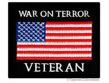 WAR ON TERROR VET MILITARY PATCH embroidered iron-on BIKER US AMERICAN FLAG USA