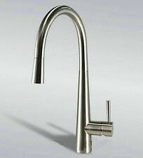 "Modern 16"" Pull Out Spout Kitchen Sink Faucet Brushed Nickel Mixer Tap Faucet"