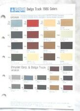 1986 DODGE TRUCK SHERWIN WILLIAMS  COLOR PAINT CHIP CHART ALL MODELS  MOPAR