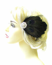 Black Silver Peacock Feather Fascinator Hair Clip 1920s Flapper Races Vtg 1812