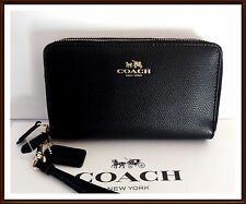 NWT $175 Coach Leather Double Zip Phone Wallet Wristet BLACK clutch w/ Receipt