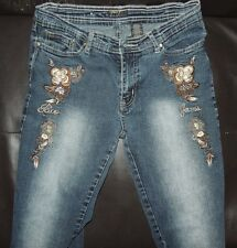 Size 9 - Paco - Embroidered Sequin Beaded Flower -Boot Cut Jeans - Western Wear