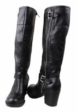 Marc Fisher Mattnew 2 Womens Black Tall Stacked Heel Riding Boots size 7