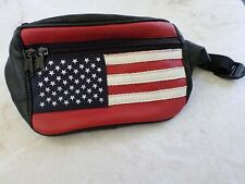 AMERICAN FLAG soft black leather stars stripes waist fanny pack bag 7""