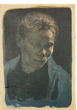 Kunstpostkarte - Käthe Kollwitz: Brustbild einer Arbeiterfrau mit blauem Tuch
