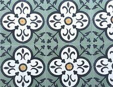 8 X 8 Flora Encaustic Moroccan Green Cement Tile Floor Walls (Sold by Piece)