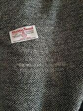 Harris tweed wool fabric grey herringbone width 150 x per metre including label