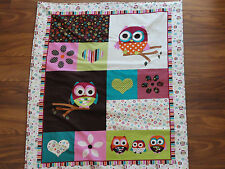 Handmade/ Homemade Baby Quilts-  Pink Owls Choice of Backs