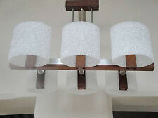 Suspension lustre en teck scandinave années 70 design 1970 Vintage