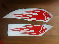 2x Red Holden Lion vinyl decal with flames. Sticker made in Australia