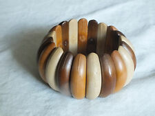 Beautiful Stretch Bracelet 3 Tone Wood Beads 1 3/4 Inch Wide NICE