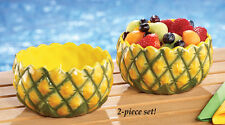 Set Of 2 Pineapple Serving Fruit Bowls Pool Party Patio BBQ Outdoor Summer Fun