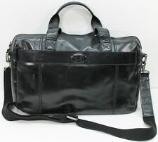 FOSSIL Large Black Leather Patent Distressed Messenger Laptop Bag Handbag 17""