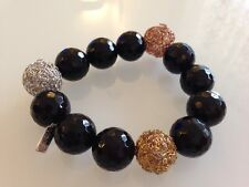 Black Agate Gold Plated Silver Stretchy Bangle