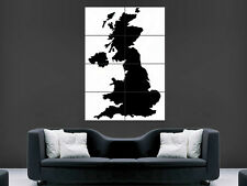 MAP OF THE UK POSTER BLACK&WHITE  PICTURE WALL IMAGE ART PRINT