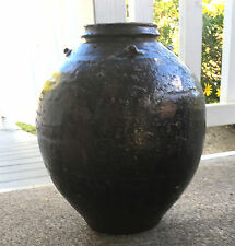 Antique Globular Chinese Brownware Stoneware Pottery Storage Jar Vase Tenmoku