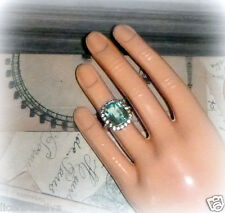 VINTAGE ART NOUVEAU STERLING SILVER AQUA BEZEL SET SOLITAIRE WITH ACCENTS AQUA