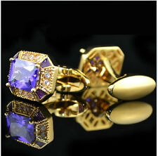 Royal gold+purple Mens Wedding Party gift shirt Crystal cufflinks cuff links
