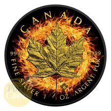 2016 Canada $5 BURNING MAPLE Leaf Fire Black Ruthenium Gold 1 Oz Silver Coin NEW