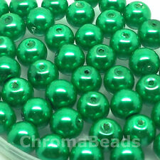 8mm Glass faux Pearls - Emerald Green (50 beads), pearl bead, jewellery making