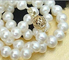 Exquisite 8MM WHITE AKOYA SHELL PEARL NECKLACE AAA 18""