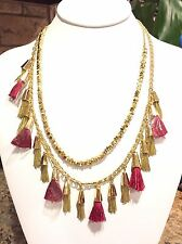"""$48 Baublebar """"Grenada""""Tassel Necklace Goldtone Chains Red Strings Double Layer"""