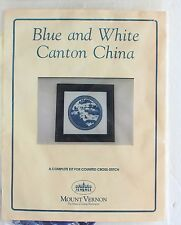 Vintage Blue And White Canton China Cross Stitch Kit Mount Vernon Oriental Asian