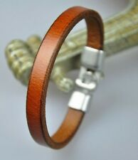 Simply Cool Single Band Real Leather Bracelet Wristband Men's Cuff LIGHT BROWN