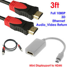 Mini DisplayPort to HDMI Video Adapter+Ultra 3ft HDMI Cable,Ethernet,3D,Audio3FT