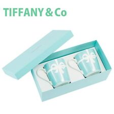Tiffany & Co. Bow Ribbon Bone China Mug Cup 2pcs Set gift box 225ml NEW