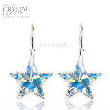 Crystal Earrings Sterling Silver 925 STAR - with Genuine Swarovski Elements