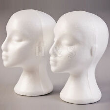 2x polystyrène female mannequin head mannequin perruque stand shop display hat cap-blanc