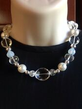 White House Black Market Silver Tone Pearl Crystal Statement Necklace-RV $78 NWT