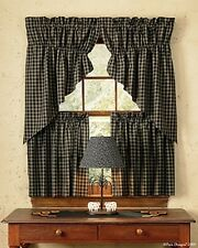 "WINDOW CURTAIN - GATHERED SWAG PAIR 36"" L - STURBRIDGE IN BLACK - PARK DESIGNS"