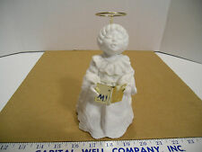 "Dept 56 Porcelain Caroling 6 1/2"" Angel with Brass Halo & Song Book Figurine"