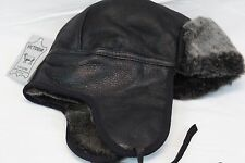 Real Sheepskin Shearling Leather Aviator Bomber Trapper Ushanka Hunting Hat M-3X