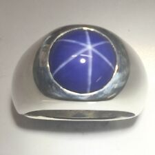 MJG STERLING SILVER MEN'S RING.12MM LAB BLUE STAR SAPPHIRE. SIZE 9 1/2